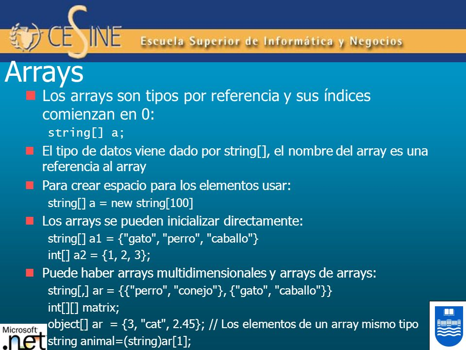 Arrays Los arrays son tipos por referencia y sus índices comienzan en 0: string[] a;